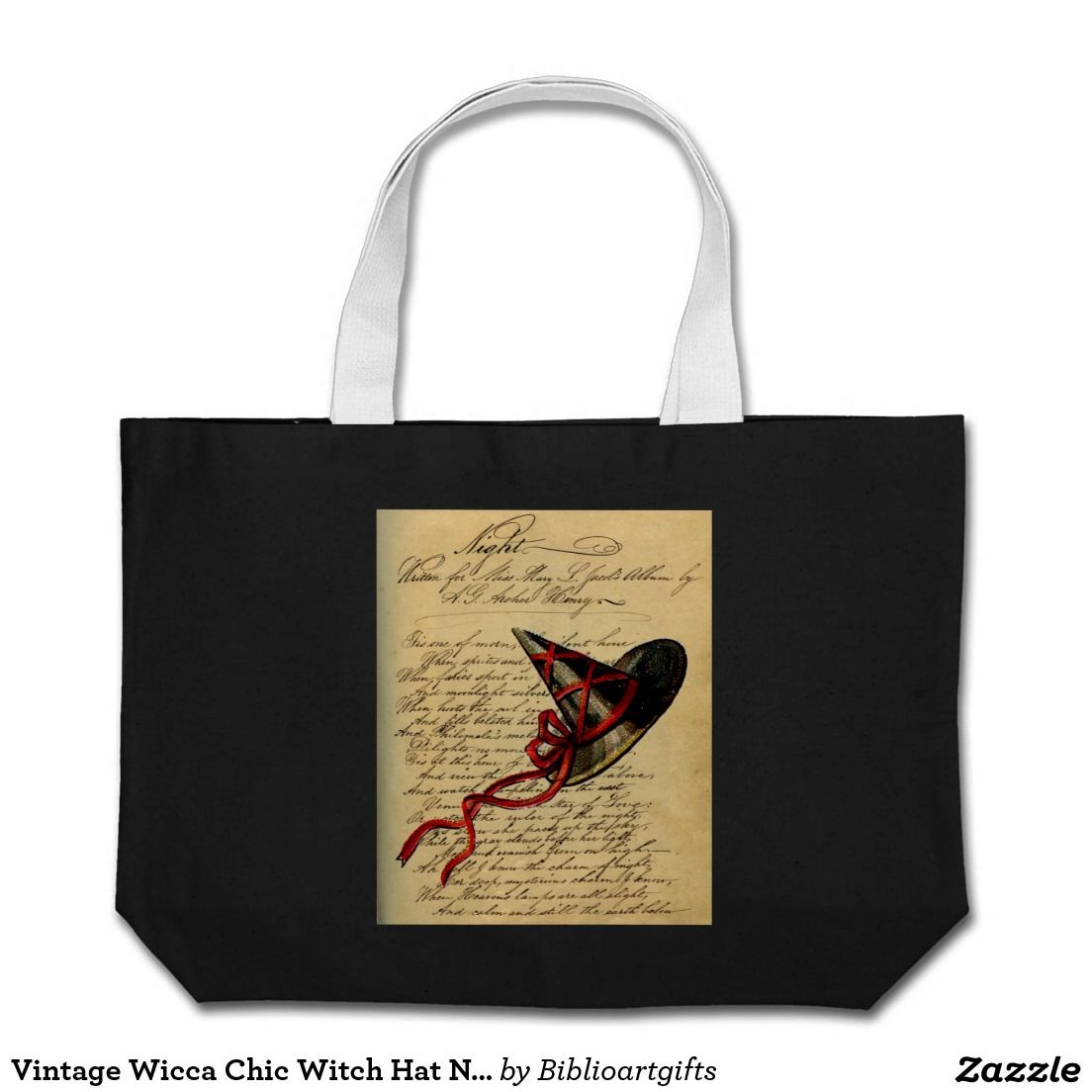 Vintage Wicca Chic Witch Hat Night Rhyme Tote Bag