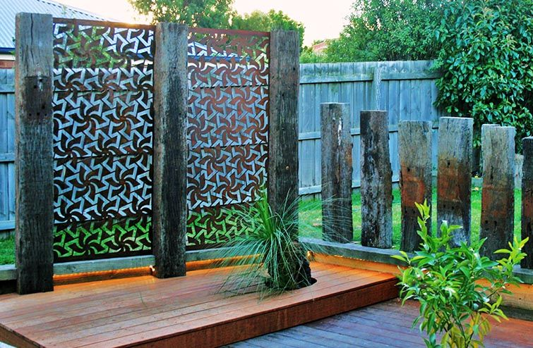 Aluminium laser cut steel doors google search the deck for Metal privacy screens for decks