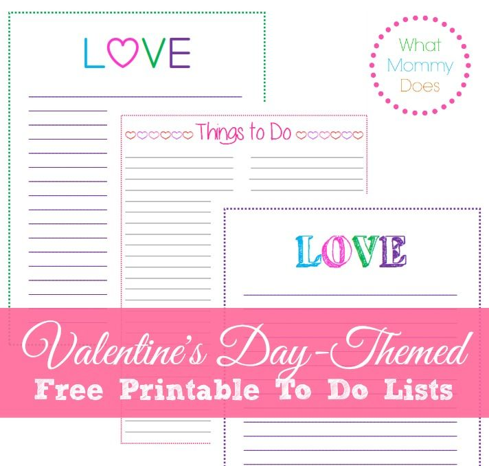 Free Printable Valentine 39 S Day To Do Lists Template