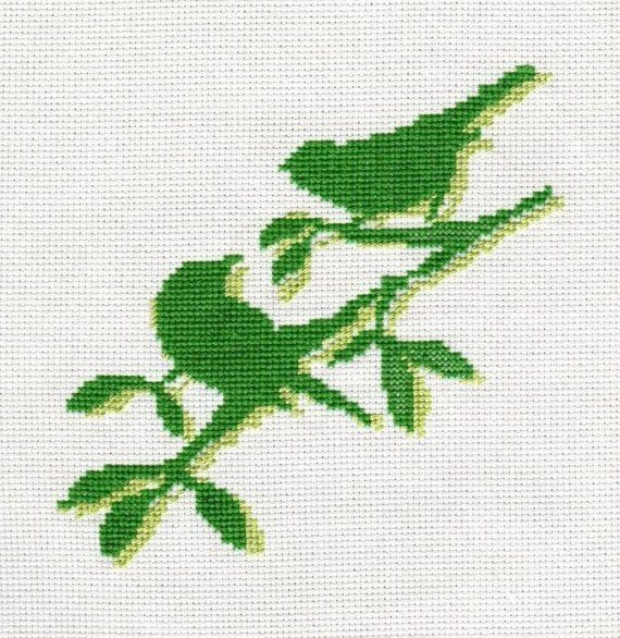 Green Birds PDF Pattern Green Cross Stitch on by anetteeriksson, $3.00