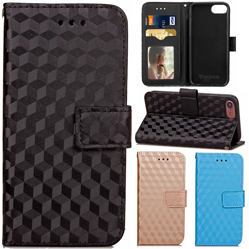 >> Click to Buy << For Iphone7 Luxury 3D Rhombus Design Leather Wallet Strap Flip Fundas Phone Case For Apple Iphone 7 7plus 7 Plus Back Cover Capa #Affiliate