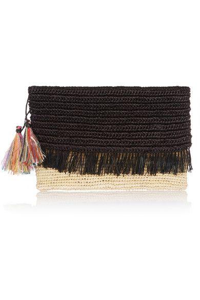 Black Tasseled Woven Toquilla Straw Clutch Sensi Studio Straw Clutch Crochet Clutch Bags Crochet Clutch