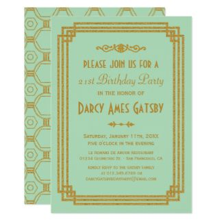Gatsby birthday invitations zazzle art deco invites gatsby birthday invitations zazzle stopboris Choice Image