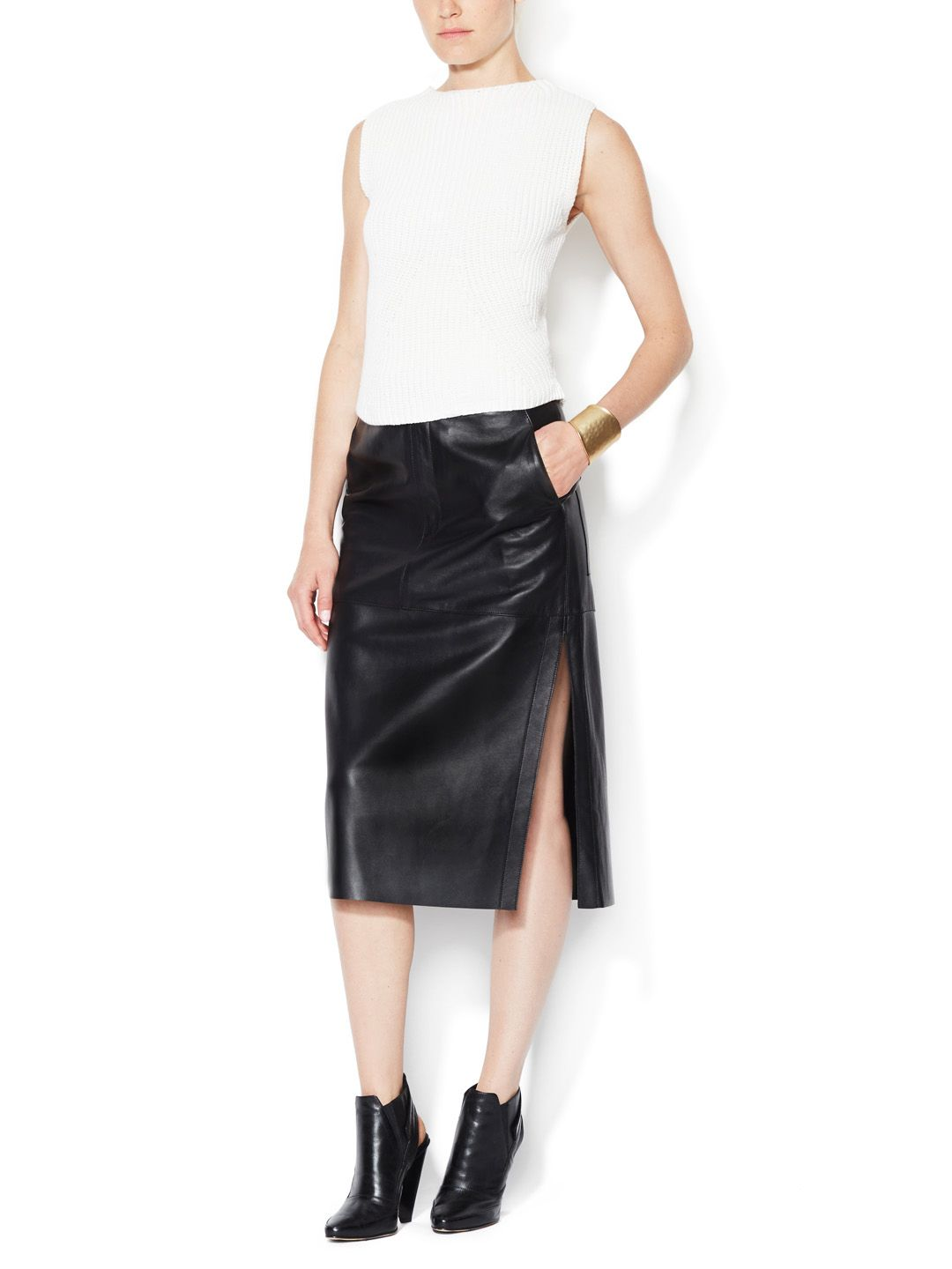 Leather high waisted pencil skirt by Helmut Lang