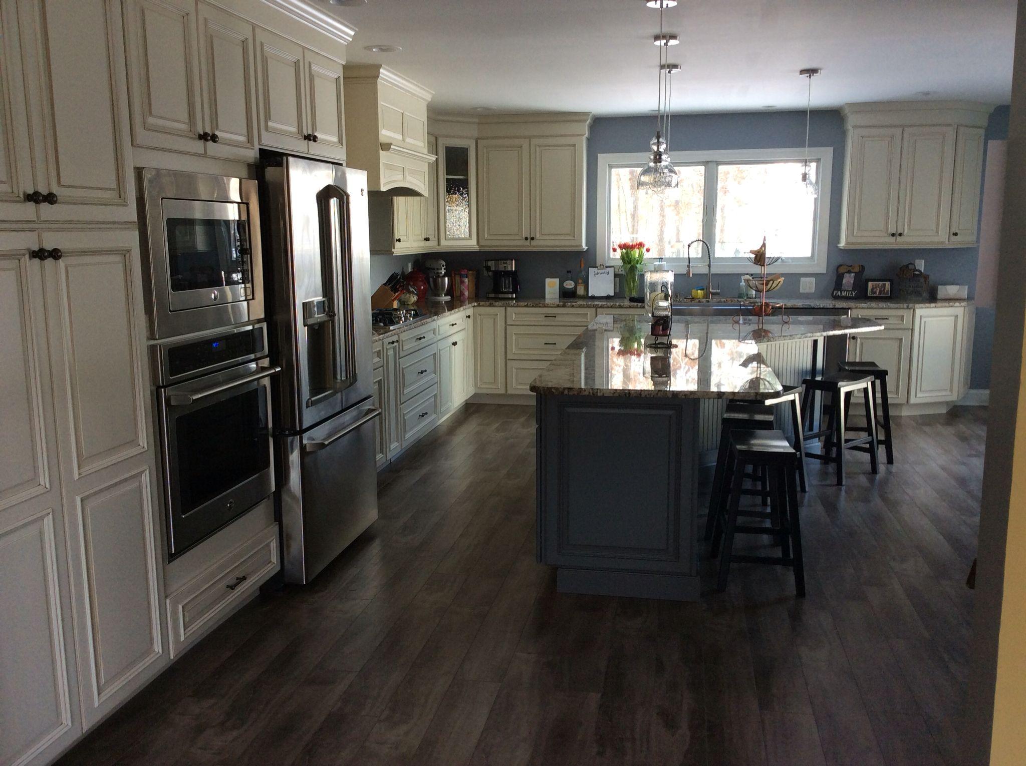 Kitchen Renovation Wellbourne Made Cream Cabinets With Dark Gray
