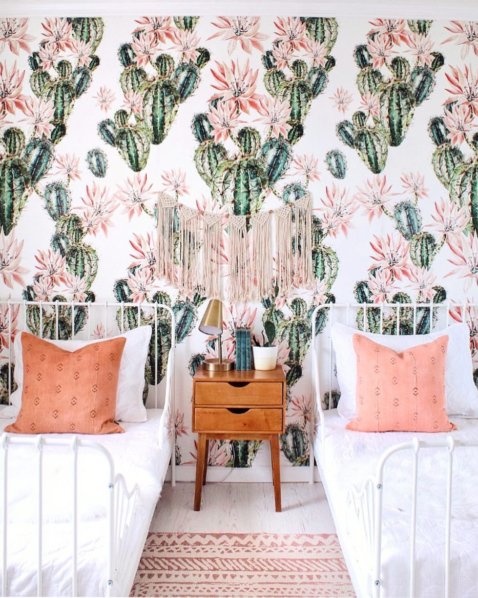 Peel-and-Stick Removable Wallpaper Mid Century Palm Springs Modernism Pink