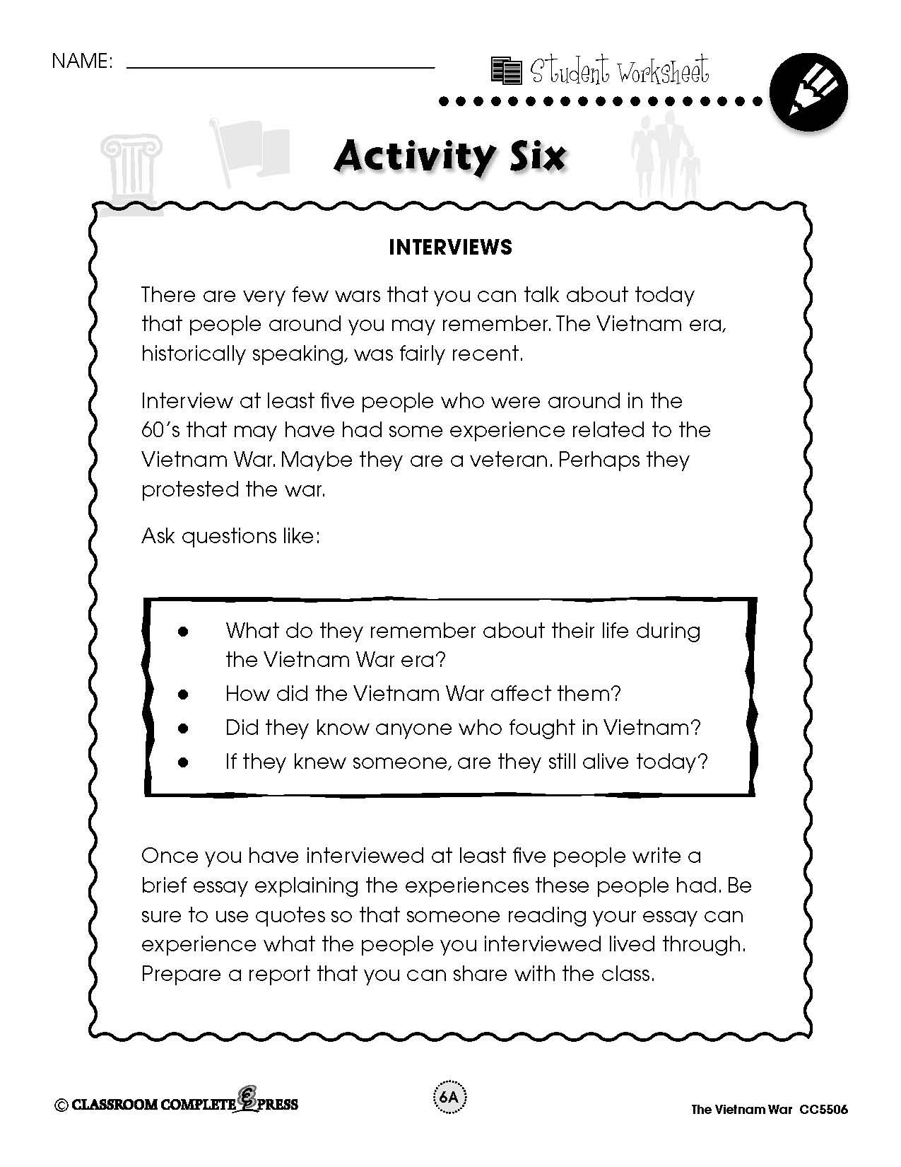 Interview Those That Were Around During The Vietnam War With Thi Free Activity From Ccp Interactive Teacher Planning Social Studie Comprehension Activities Essay