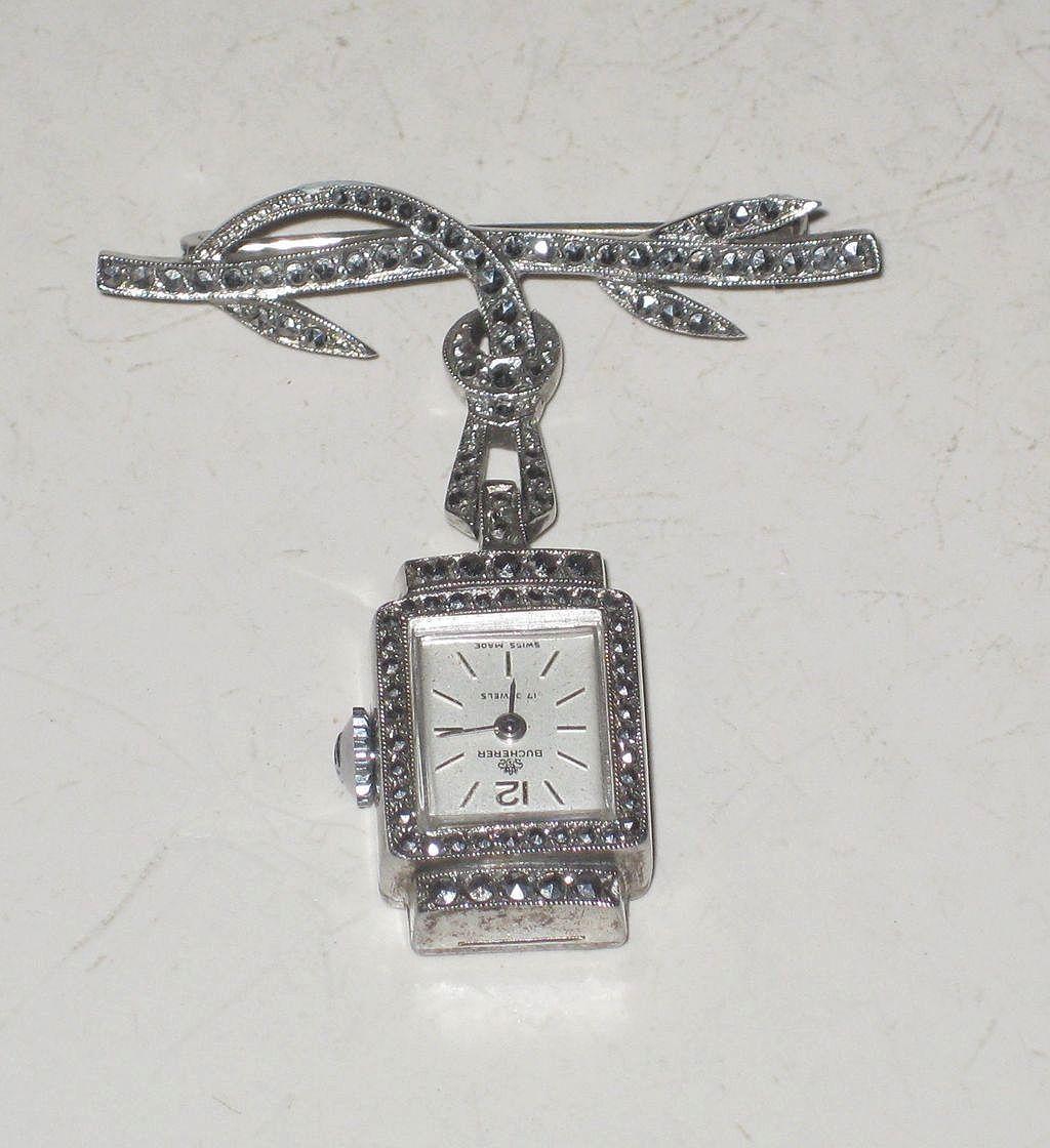 Vintage Ladies 800 Silver Bucherer 17 Jewel Swiss Lapel Pin Watch Marcasites Pendant Watches Pendant Vintage Watches