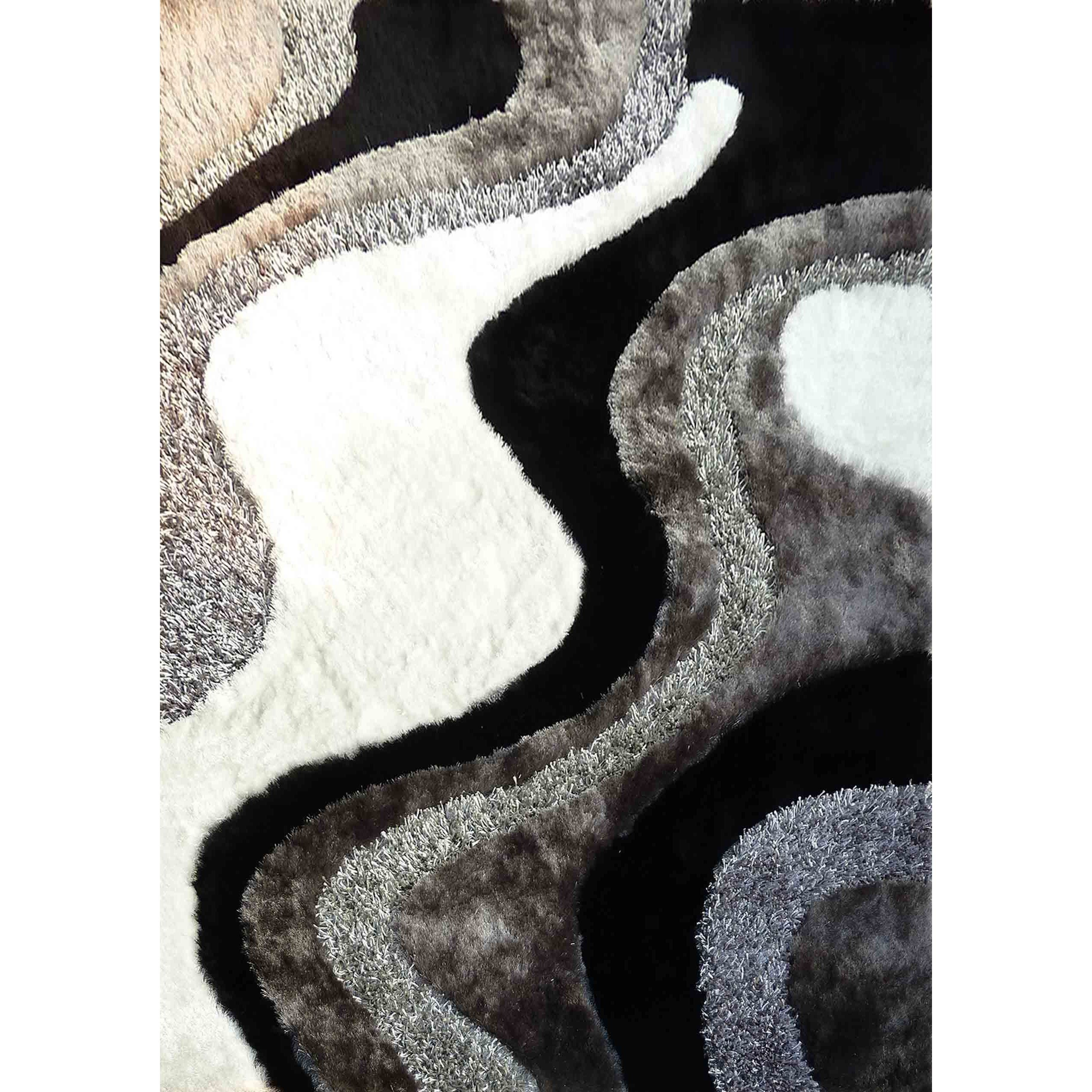 Abstract Art Ocean Wave Design White Silver Grey Black