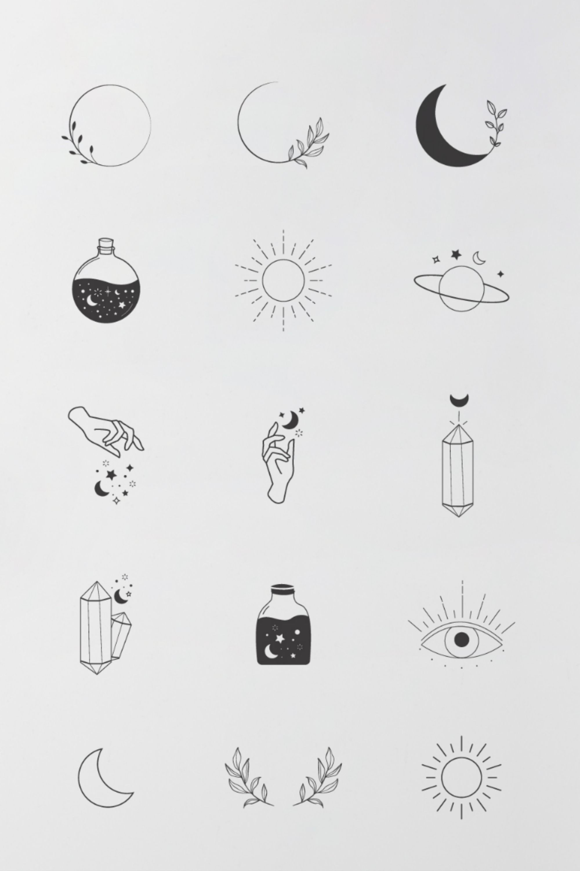 Mystic Tattoo Designs : mystic, tattoo, designs, Mystical, Minimalist, Elements, Branding, Design, |Boho, Celestial, Tattoos,, Icons,, Drawings