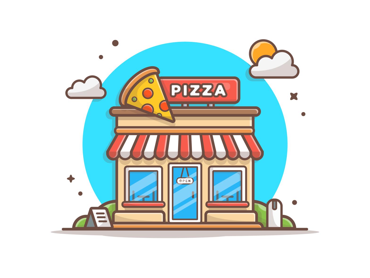 Pizza shop! 🍕🍕🍕 Simple illustration, Logo mark, Shop design