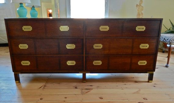 Items similar to Vintage Baker Furniture Campaign Style Dresser or Credenza  with Brass Accents on Etsy - Set Of Vintage Vinyl And Chrome Stools Baker Furniture, Credenza