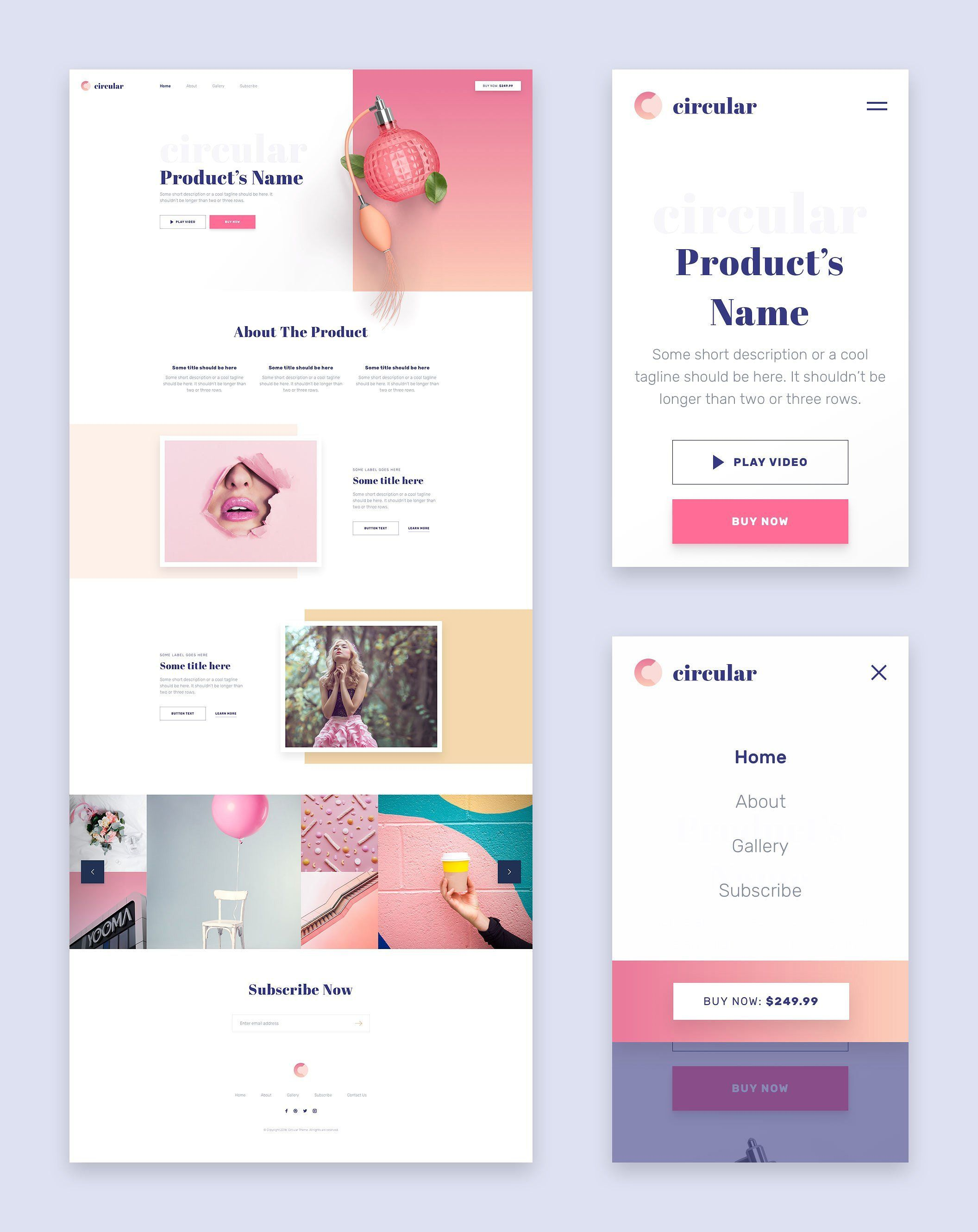 Circular is a pack of 5 beautiful, responsive and unique landing pages. They are based on the most popular requests from the clients of 2018. Modern trendy gradien landing pages web design inspiration. #webdesign #webdev #ui #webdesignservices #uidesign #landingpage #onepage #dribble #behance