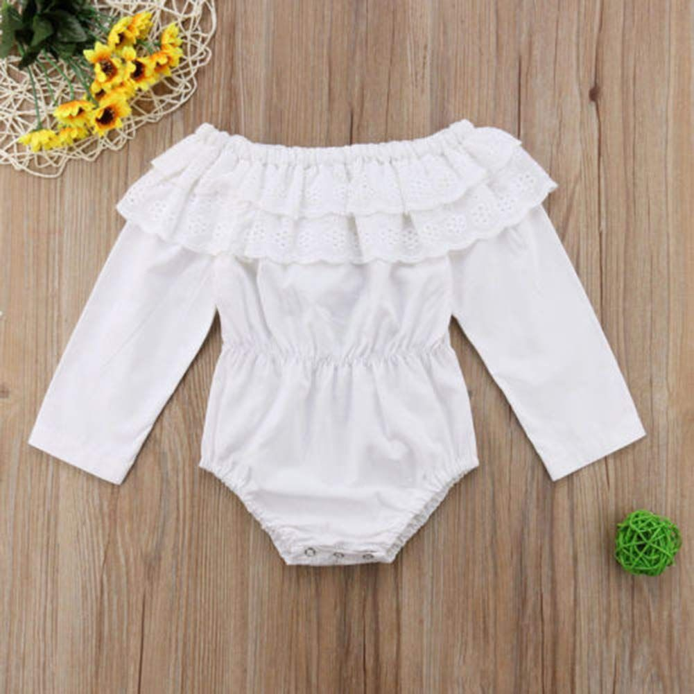 UK Newborn Infant Baby Girl Clothes Floral Embroidery Ruffle Romper Outfit 0-18M