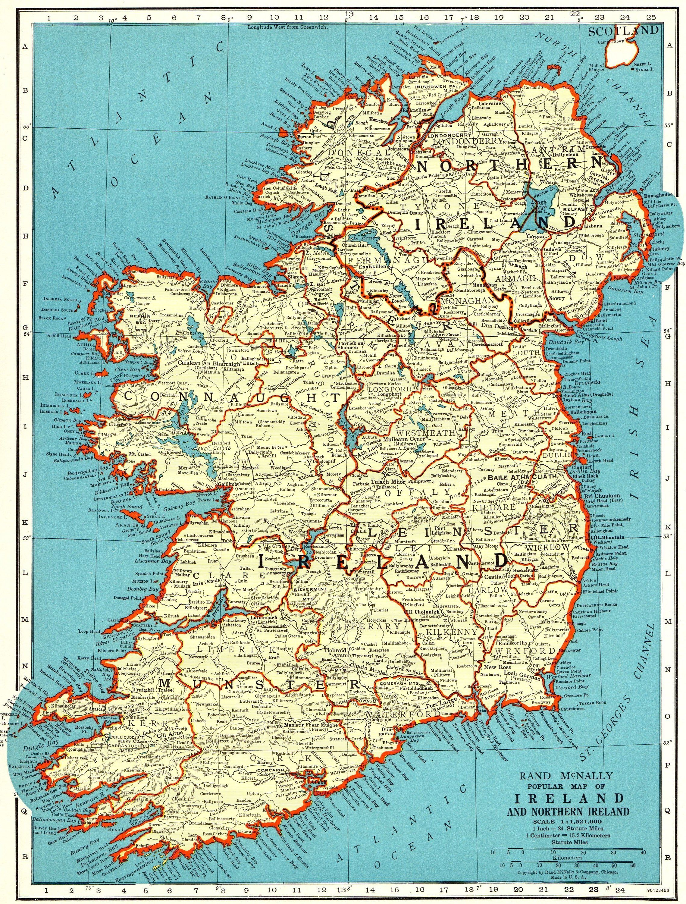 Plain Map Of Ireland.1940 Antique Ireland Map Vintage Map Of Ireland Travel Gallery Wall