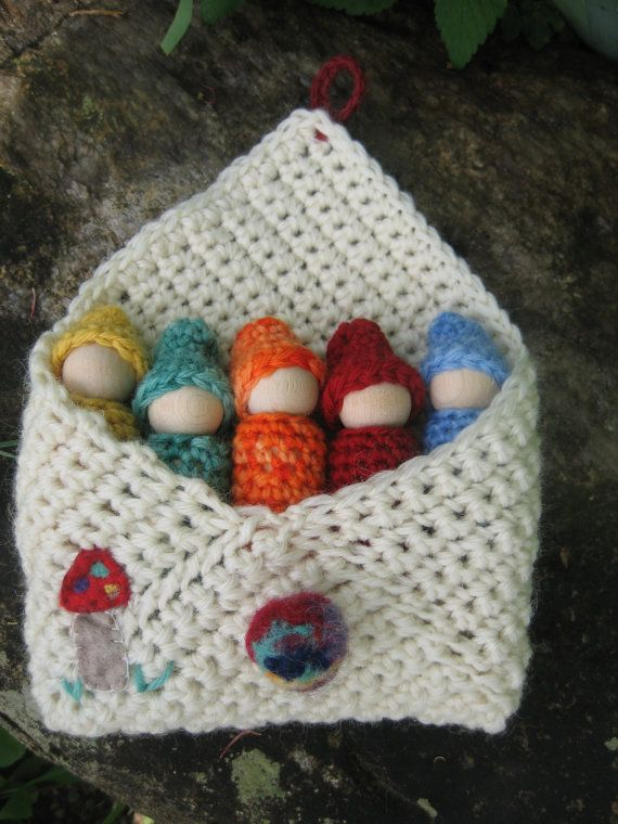Gnomes in a pocket set wood peg dolls wool pouch by greenmountain, $20.00