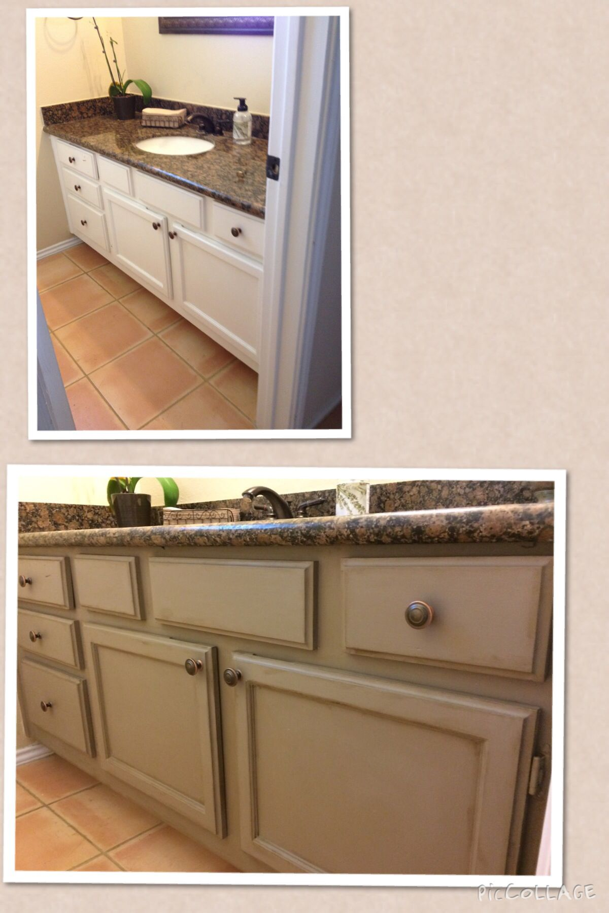 before and after pics of bathroom cabinet i used annie sloan coco chalk paint and then