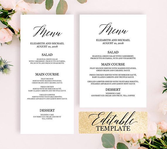dinner party menu template editable pdf wedding buffet. Black Bedroom Furniture Sets. Home Design Ideas