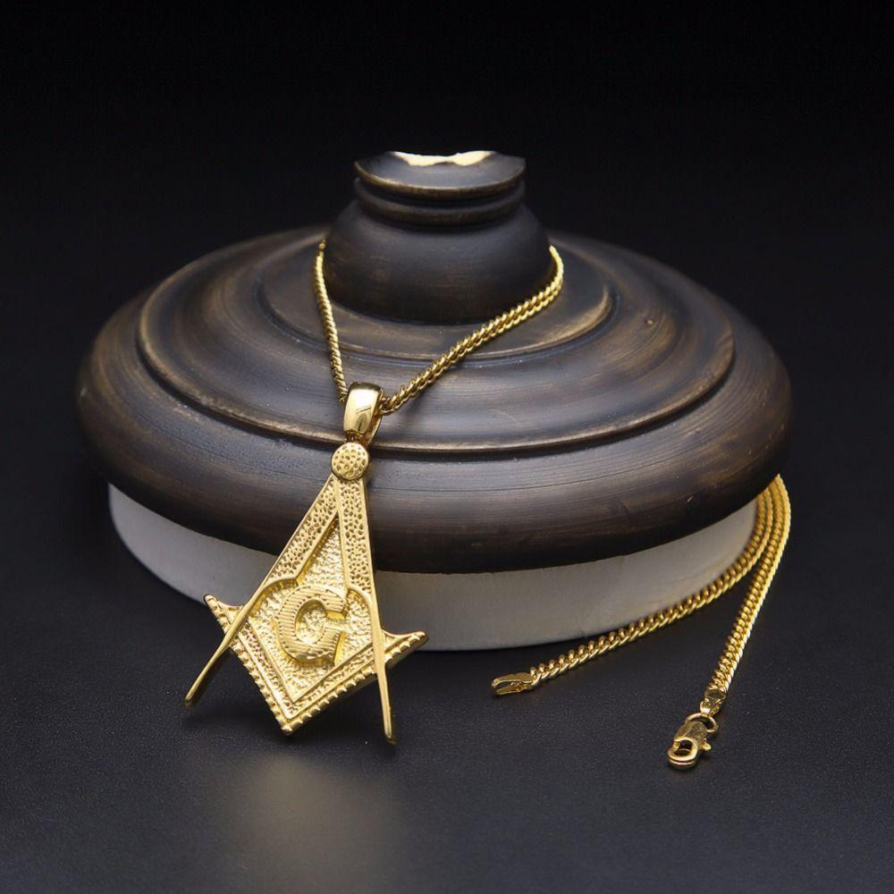 new masonic g pendant necklace free masons stainless steel hip
