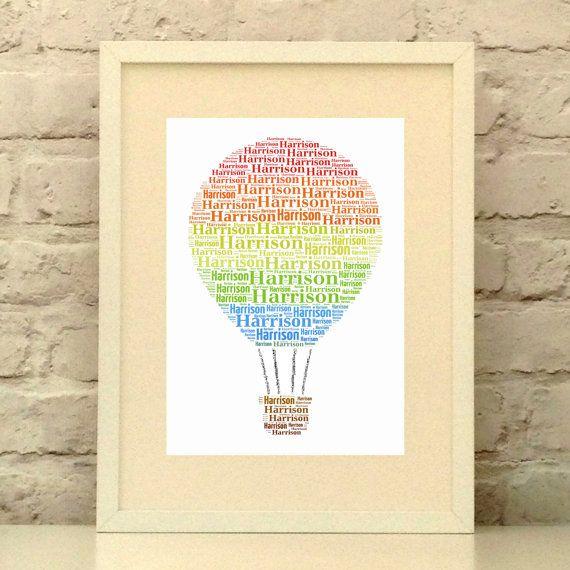 Hot Air Balloon Personalised Name print, Rainbow Stripes, Custom ...