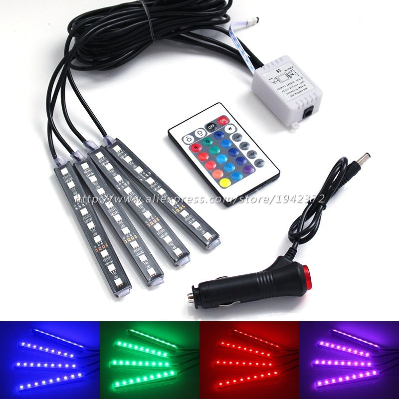 Remote Control RGB Car Interior Floor Decorative Lamp Cigarette ...