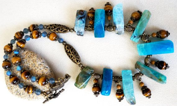 Teal Blue Druzy Agate, Tiger Eye, Antique Bronze Handmade Gemstone Statement Necklace