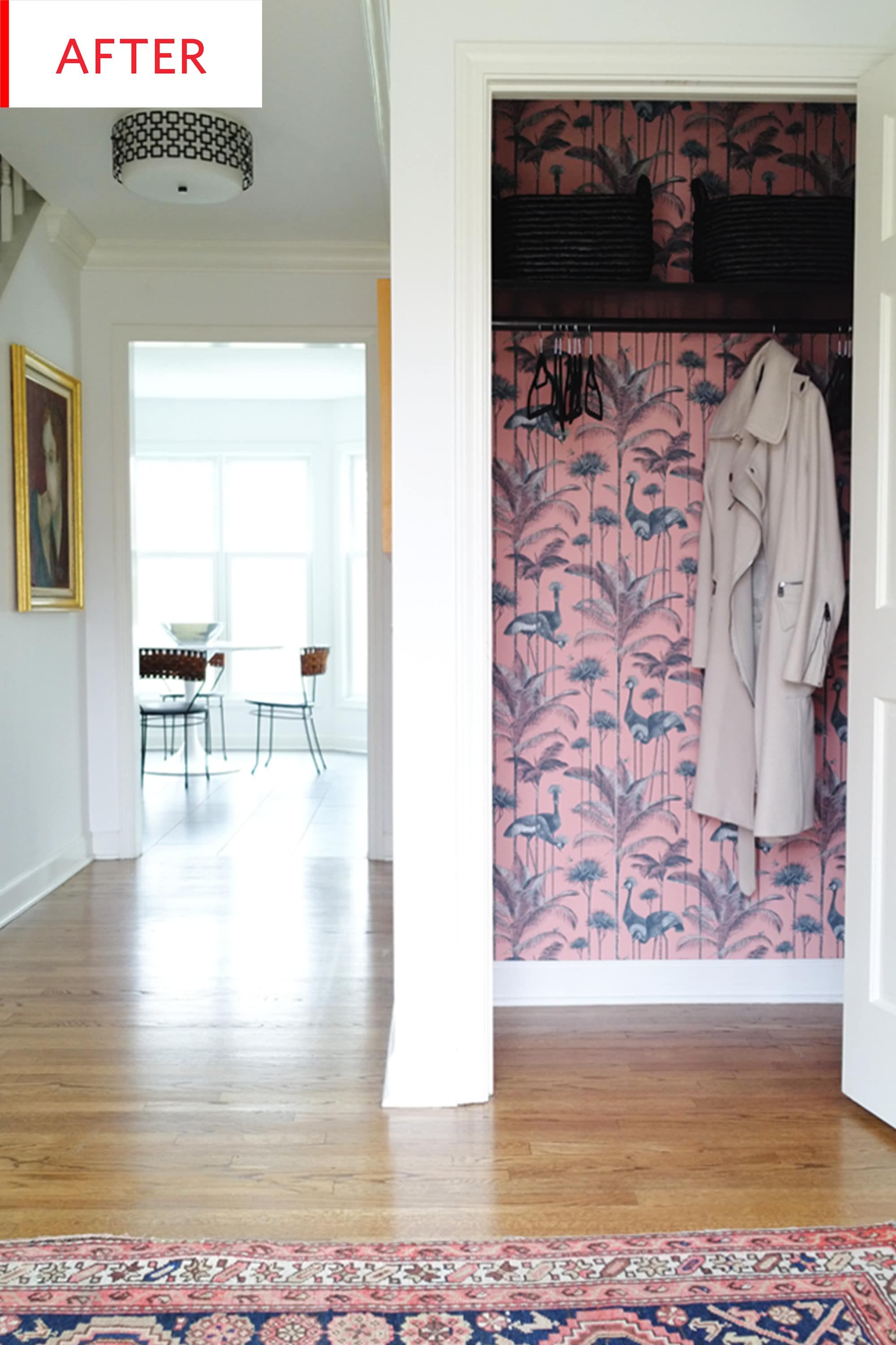Before And After This Living Room Coat Closet Is A Total Surprise Inside Home Closet Wallpaper Closet Makeover