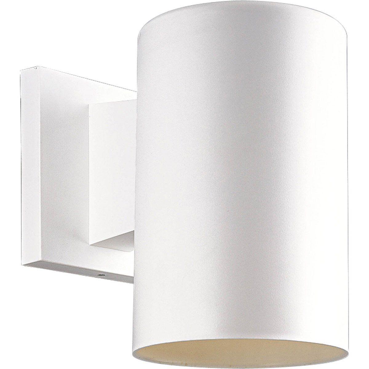 White Outdoor Lights Progress Lighting P571230 Cylinder 1 Light 7 Inch White Outdoor