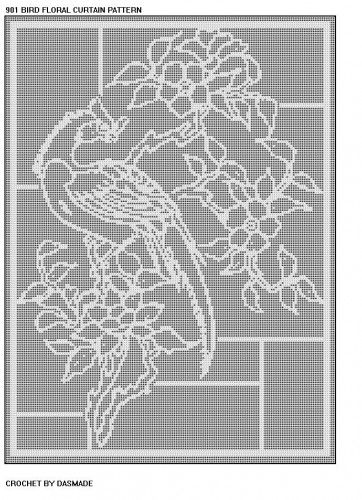 Free Filet Crochet Valance Patterns : Bird Floral Curtain Tablecloth Filet Crochet Pattern Item ...