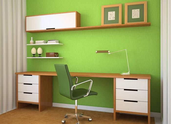 Inspiring Home Office Colors   #HomeOffice Decor Ideas, Green