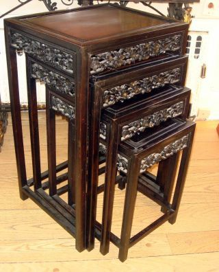 Superieur Antique Asian Chinese Stunning Nest Of Rosewood Wood Stacking Tables Photo