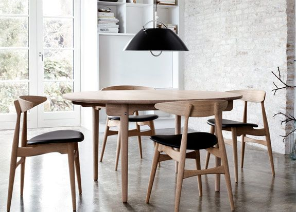 Room Danish Modern CH33 Chairs Table And Fixture By Designer