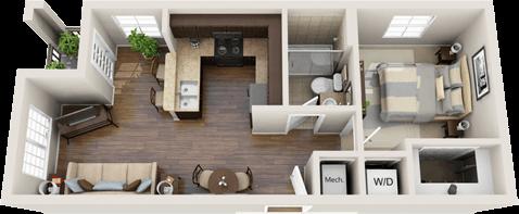 Modern 1 bedroom apartment floor plan luxury 33 west - One bedroom apartment for rent in nj ...
