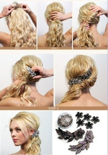 Side Swept Curls With Beautiful Clip Hair Styles Brides Maid Hair Long Hair Styles