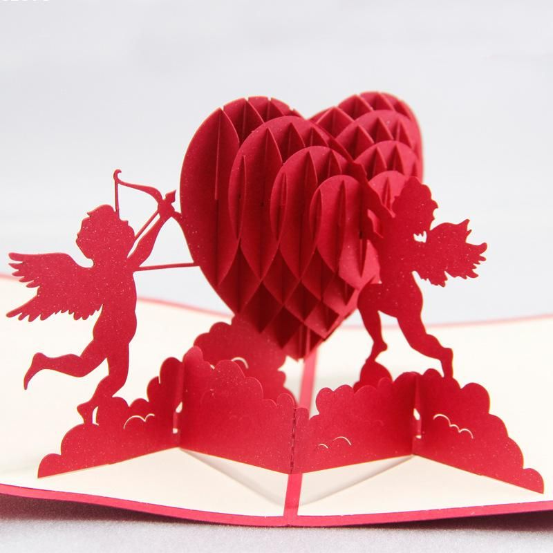 3D Pop Up Card Birthday Valentine Handmade Greeting Cards Invitations Love Gift