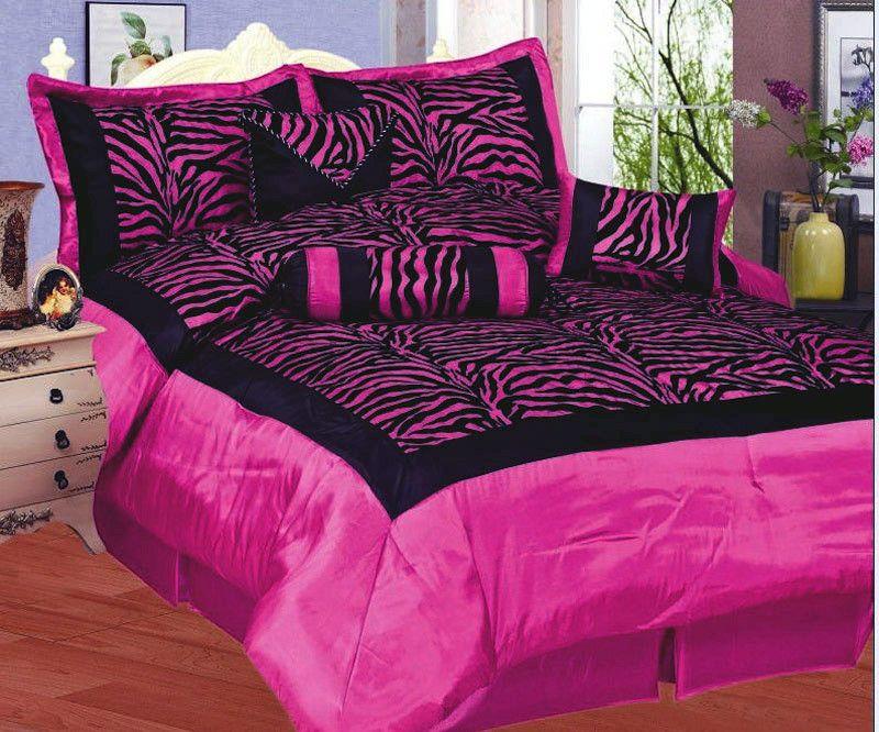 New 7 Piece Full Zebra Bedding Black Hot Pink Flock Satin