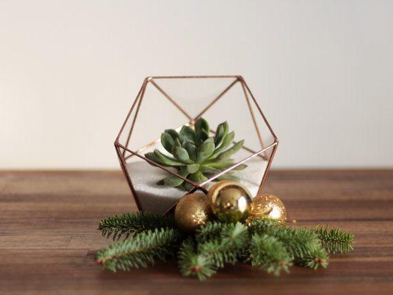 Récipient en Terrarium verre géométrique, plante amoureux cadeau - decoration pour porte d interieur