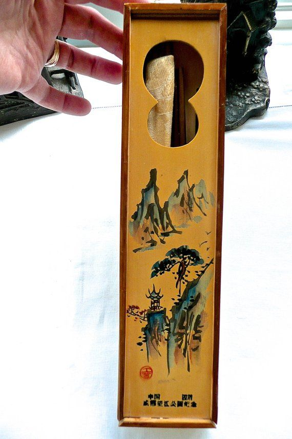 Chopstick Storage Box Hand Painted Box Oriental Box