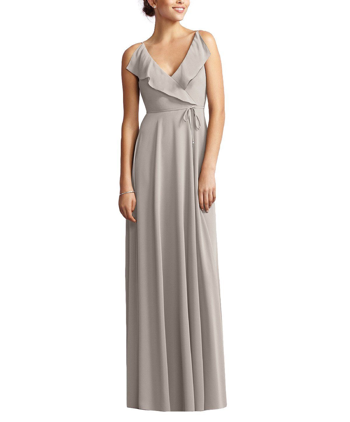 24ef9a64c9f Description - Jenny Yoo by Dessy Style JY517 - Full length bridesmaid dress  - Vneck with soft drape ruffle at front and back neckline - Modified circle  ...