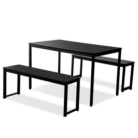 29++ 3 piece black dining table set with 2 benches Best