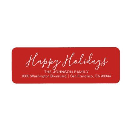 modern red happy holidays christmas return address label christmas