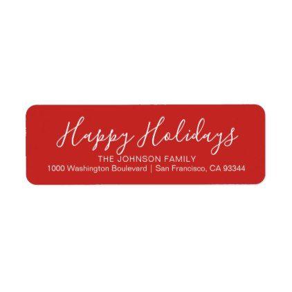 Modern Red Happy Holidays Christmas Return Address Label  Script