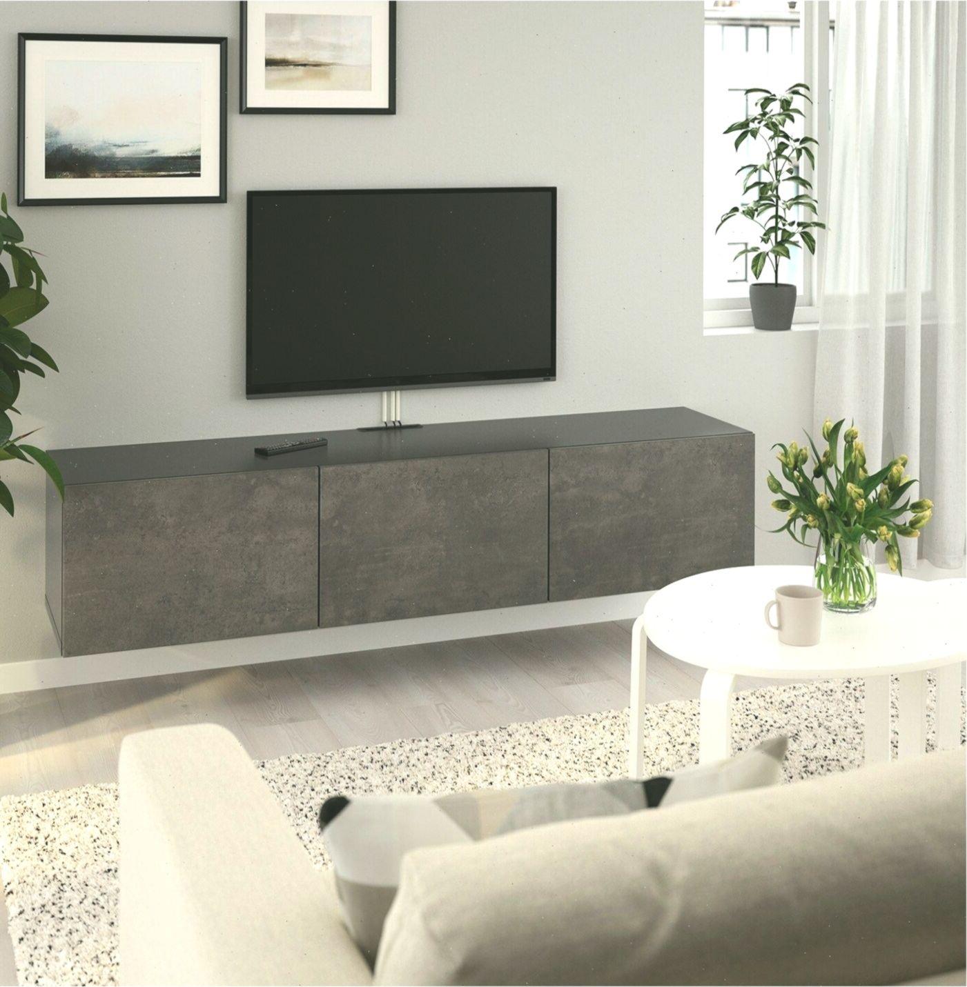 Ikea Besta Tv Unit With Doors Black Brown Kallviken Concrete
