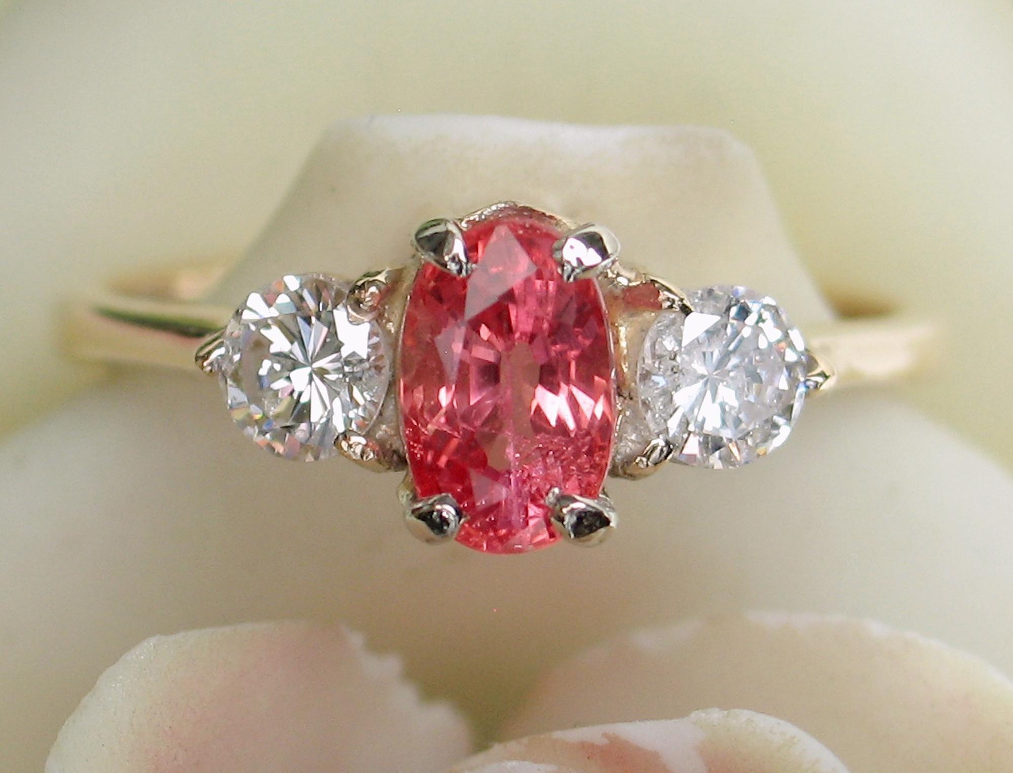 Natural kt ceylon padparadscha sapphire u diamond ring radiant