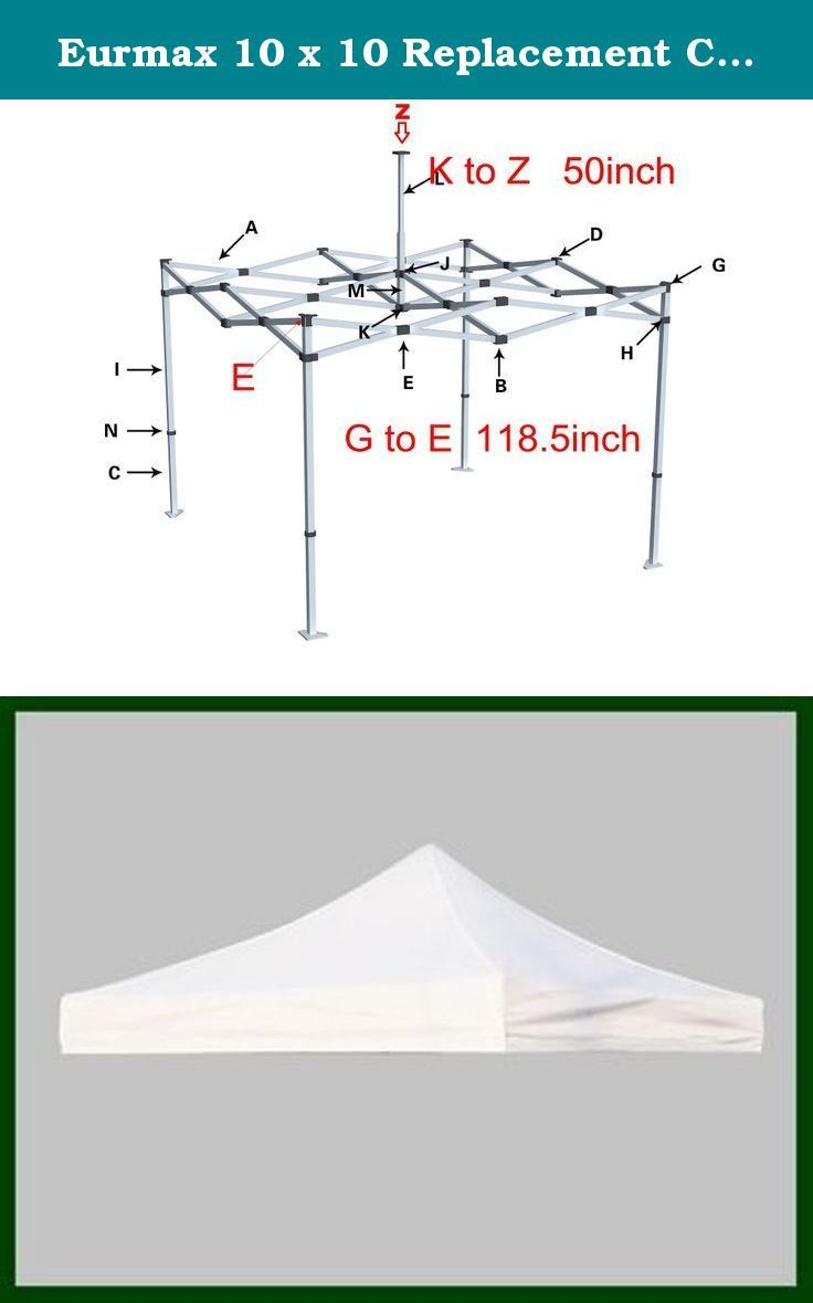 Eurmax 10 X 10 Replacement Canopy Top Cover Pop Up Canopy Commercial Tent 19 Colors Select White Suitable For Canopy Frame 10x10 Canopy Replacement Canopy