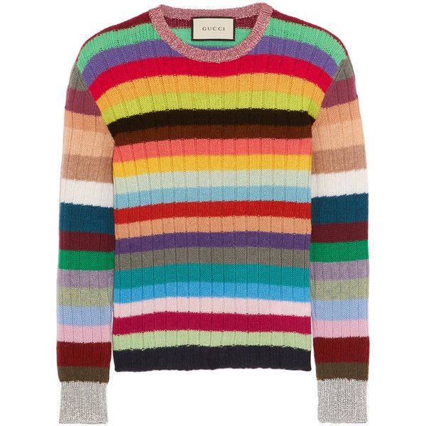 5c998221d Gucci Striped cashmere and wool-blend sweater ($915) ❤ liked on Polyvore  featuring tops, sweaters, gucci, blue, stripe sweater, striped top, ...