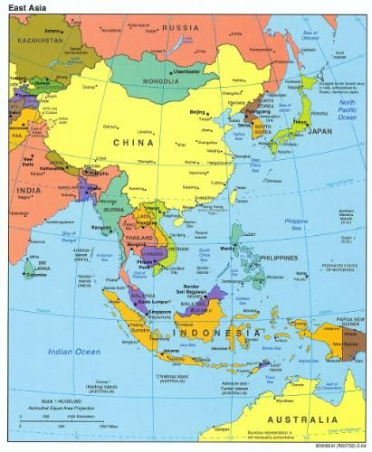 Map Of Central And South Asia.Southeast Asia Redrawn From A Map Produced By The U S Central