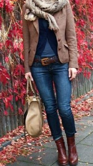 love the ankle boots, short jacket, bag with jeans.. relaxed and casual style
