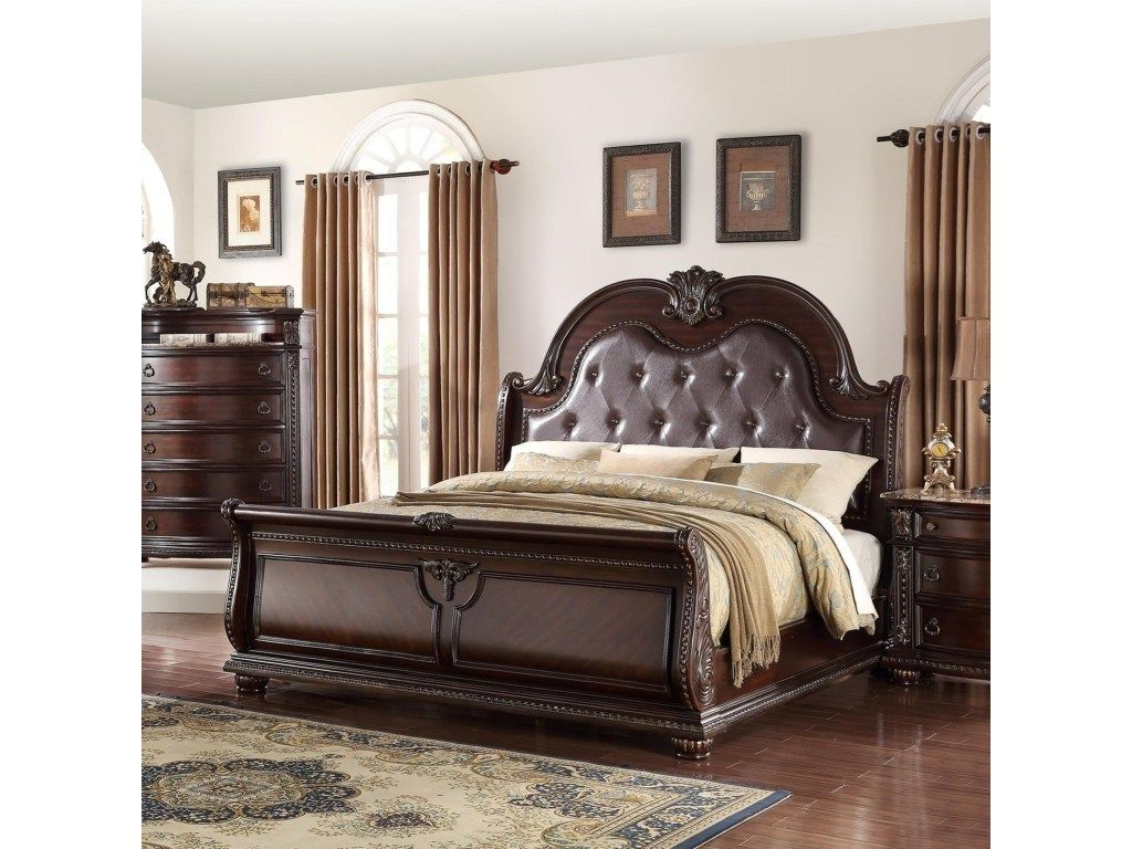 Crown Mark Stanley Collection Brown Queen Bed Bedroom Sets Queen Bedroom Sets King Bedroom Sets