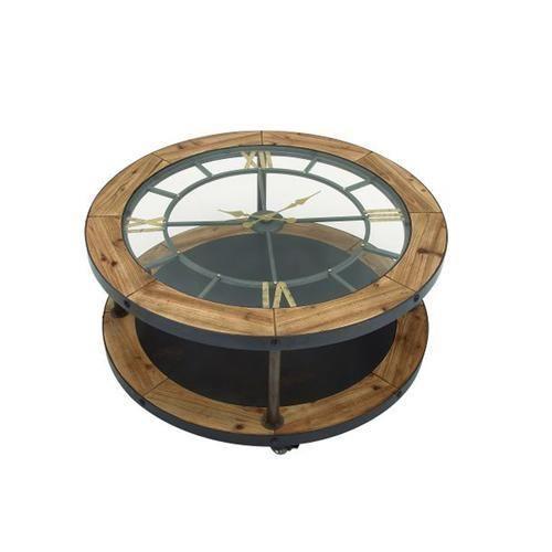 Classic Metal Wood Clock Coffee Table